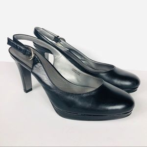 Tahari Carolyn Black Leather Slingbacks